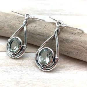 Shop Green Amethyst Earrings! Green Amethyst Silver Earrings – Silver Loop Dangly Green Amethyst Earrings – Green Amethyst Simple Earrings – 925 Sterling Silver   Natural genuine Green Amethyst earrings. Buy crystal jewelry, handmade handcrafted artisan jewelry for women.  Unique handmade gift ideas. #jewelry #beadedearrings #beadedjewelry #gift #shopping #handmadejewelry #fashion #style #product #earrings #affiliate #ad
