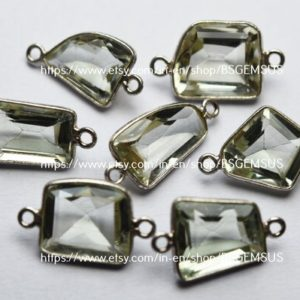 Shop Green Amethyst Beads! 925 Sterling Silver, Natural Green Amethyst Faceted Fancy Shape Connector,5 Piece Of  18-20mm App.   Natural genuine faceted Green Amethyst beads for beading and jewelry making.  #jewelry #beads #beadedjewelry #diyjewelry #jewelrymaking #beadstore #beading #affiliate #ad