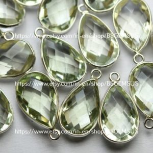 Shop Green Amethyst Beads! 925 Sterling Silver,Natural Green Amethyst Faceted Pear Shape Connector,4 Piece Of  20mm App.   Natural genuine faceted Green Amethyst beads for beading and jewelry making.  #jewelry #beads #beadedjewelry #diyjewelry #jewelrymaking #beadstore #beading #affiliate #ad