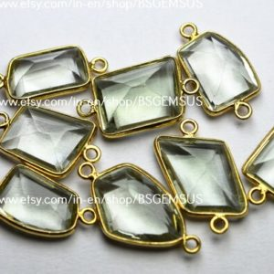 Shop Green Amethyst Beads! 925 Sterling Vermeil Silver, Natural Green Amethyst Faceted Fancy Shape Connector,5 Piece Of  18-20mm App.   Natural genuine faceted Green Amethyst beads for beading and jewelry making.  #jewelry #beads #beadedjewelry #diyjewelry #jewelrymaking #beadstore #beading #affiliate #ad