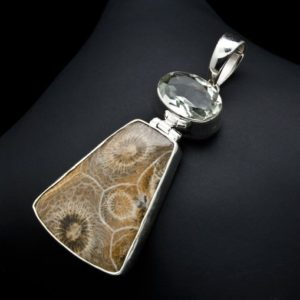 Shop Green Amethyst Pendants! Sterling Silver Fossil Coral and Green Amethyst Pendant   Natural genuine Green Amethyst pendants. Buy crystal jewelry, handmade handcrafted artisan jewelry for women.  Unique handmade gift ideas. #jewelry #beadedpendants #beadedjewelry #gift #shopping #handmadejewelry #fashion #style #product #pendants #affiliate #ad
