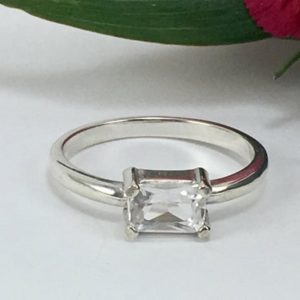 Faceted NY Herkimer Diamond Sterling Silver Ring, 4×6 mm Octagon Cut Solitaire Ring, Herkimer Diamond Jewelry, Horizontal Setting | Natural genuine Gemstone rings, simple unique handcrafted gemstone rings. #rings #jewelry #shopping #gift #handmade #fashion #style #affiliate #ad