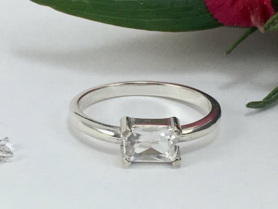 Faceted Ny Herkimer Diamond Sterling Silver Ring, 4x6 Mm Octagon Cut Solitaire Ring, Herkimer Diamond Jewelry, Horizontal Setting