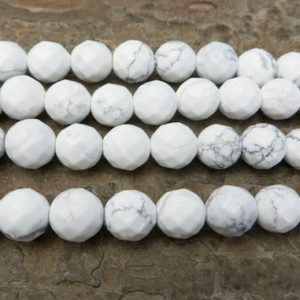 Shop Faceted Gemstone Beads! faceted white howlite beads – faceted round howlite gemstone – natural howlite beads – white gemstone beads – howlite gemstone beads -15inch | Natural genuine faceted Gemstone beads for beading and jewelry making.  #jewelry #beads #beadedjewelry #diyjewelry #jewelrymaking #beadstore #beading #affiliate #ad