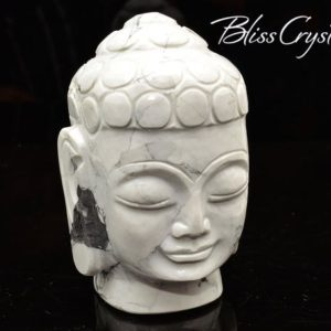 """Shop Howlite Shapes! 3"""" WHITE HOWLITE Buddha Head 10 oz Carving #HB02 
