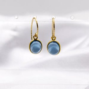 Shop Iolite Earrings! Iolite Dangle Earrings, Blue Earrings, Genuine Gemstone 10x8mm Cabochon Gold Plated Wraps, Gold Filled Ornate Shepard Hook Style Earrings | Natural genuine Iolite earrings. Buy crystal jewelry, handmade handcrafted artisan jewelry for women.  Unique handmade gift ideas. #jewelry #beadedearrings #beadedjewelry #gift #shopping #handmadejewelry #fashion #style #product #earrings #affiliate #ad