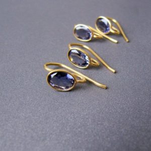 Shop Iolite Earrings! Iolite Gold Vermeil Ear Wires • 7x5mm Gems Aaa Top Grade • Earrings Findings •solid Sterling Silver 925 Plated With 18k Gold | Natural genuine Iolite earrings. Buy crystal jewelry, handmade handcrafted artisan jewelry for women.  Unique handmade gift ideas. #jewelry #beadedearrings #beadedjewelry #gift #shopping #handmadejewelry #fashion #style #product #earrings #affiliate #ad