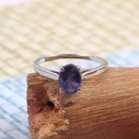 Natural Iolite Ring, Minimalist Stackable Ring, Dainty Simple Ring, 925 Sterling Silver, Delicate Handmade Ring, Everyday Statement Ring | Natural genuine Gemstone jewelry. Buy crystal jewelry, handmade handcrafted artisan jewelry for women.  Unique handmade gift ideas. #jewelry #beadedjewelry #beadedjewelry #gift #shopping #handmadejewelry #fashion #style #product #jewelry #affiliate #ad