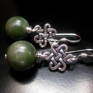 Shop Jade Earrings! Jade Silver Earrings, Genuine Jade, Natural Jade, Silver Eternity, Sterling Silver Wire, Jade Earrings, St. Patrick's Day, Celtic Earrings | Natural genuine Jade earrings. Buy crystal jewelry, handmade handcrafted artisan jewelry for women.  Unique handmade gift ideas. #jewelry #beadedearrings #beadedjewelry #gift #shopping #handmadejewelry #fashion #style #product #earrings #affiliate #ad
