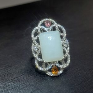 Shop Jade Rings! White Jade Ring Sterling Silver Adjustable Jade Jewelry   Natural genuine Jade rings, simple unique handcrafted gemstone rings. #rings #jewelry #shopping #gift #handmade #fashion #style #affiliate #ad