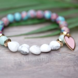 CALM & HEALING 8mm Imperial Emperor Purple Blue Sediment Jasper White Heart Shape Howlite Bead Bracelet with Gold Pink Charm | Natural genuine Gemstone bracelets. Buy crystal jewelry, handmade handcrafted artisan jewelry for women.  Unique handmade gift ideas. #jewelry #beadedbracelets #beadedjewelry #gift #shopping #handmadejewelry #fashion #style #product #bracelets #affiliate #ad