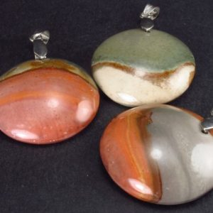 Shop Jasper Pendants! Lot of 3 Natural  Multicolored Polychrome Jasper Pendant from Madagascar | Natural genuine Jasper pendants. Buy crystal jewelry, handmade handcrafted artisan jewelry for women.  Unique handmade gift ideas. #jewelry #beadedpendants #beadedjewelry #gift #shopping #handmadejewelry #fashion #style #product #pendants #affiliate #ad