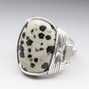 Shop Jasper Rings! Dalmatian Jasper Gemstone 18x25mm Cabochon Sterling Silver Wire Wrapped Ring – Optional Oxidation/Antiquing – Made to Order and Ships Fast! | Natural genuine Jasper rings, simple unique handcrafted gemstone rings. #rings #jewelry #shopping #gift #handmade #fashion #style #affiliate #ad