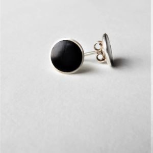 Shop Jet Earrings! Whitby Jet And Silver Ear Studs | Natural genuine Jet earrings. Buy crystal jewelry, handmade handcrafted artisan jewelry for women.  Unique handmade gift ideas. #jewelry #beadedearrings #beadedjewelry #gift #shopping #handmadejewelry #fashion #style #product #earrings #affiliate #ad