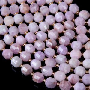 Shop Kunzite Beads! 8MM Natural Purple Pink Kunzite Gemstone Grade AAA Faceted Prism Double Point Cut Loose Beads BULK LOT 1,2,6,12 and 50 (D37)   Natural genuine faceted Kunzite beads for beading and jewelry making.  #jewelry #beads #beadedjewelry #diyjewelry #jewelrymaking #beadstore #beading #affiliate #ad