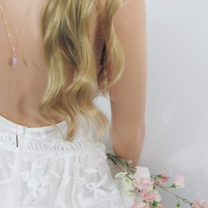 Shop Kunzite Necklaces! Boho Wedding Necklace with Raw Kunzite Stones, Backdrop Necklace For the Bride | Natural genuine Kunzite necklaces. Buy handcrafted artisan wedding jewelry.  Unique handmade bridal jewelry gift ideas. #jewelry #beadednecklaces #gift #crystaljewelry #shopping #handmadejewelry #wedding #bridal #necklaces #affiliate #ad