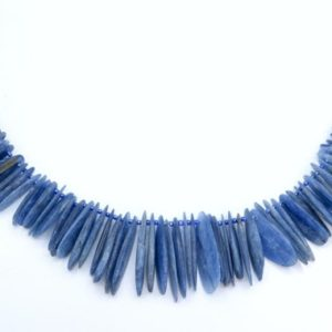 Shop Kyanite Bead Shapes! 73-77 Pcs – 10-40MM Kyanite Beads South Africa Grade AAA Genuine Natural Graduated Oval Stick Slice Gemstone Beads (108374) | Natural genuine other-shape Kyanite beads for beading and jewelry making.  #jewelry #beads #beadedjewelry #diyjewelry #jewelrymaking #beadstore #beading #affiliate #ad
