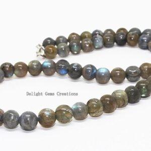 """Shop Labradorite Necklaces! Natural Labradorite 8 mm Plain Round Beads Necklace, 18"""" long Strand Necklace Beads, AA Grade Labradorite Beads Necklace For Men and Women   Natural genuine Labradorite necklaces. Buy handcrafted artisan men's jewelry, gifts for men.  Unique handmade mens fashion accessories. #jewelry #beadednecklaces #beadedjewelry #shopping #gift #handmadejewelry #necklaces #affiliate #ad"""