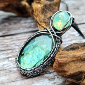 Shop Labradorite Pendants! Crystal & Labradorite Necklace, Wire Wrapped Pendant, Feldspar Necklace, White Witch Jewellery, Natural Labradorite Stone Jewellery   Natural genuine Labradorite pendants. Buy crystal jewelry, handmade handcrafted artisan jewelry for women.  Unique handmade gift ideas. #jewelry #beadedpendants #beadedjewelry #gift #shopping #handmadejewelry #fashion #style #product #pendants #affiliate #ad