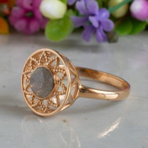 Shop Labradorite Rings! 14K Rose Gold Vintage Labradorite Ring, March Birthstone Ring, Dainty Ring, Labradorite Jewelry, Gemstone Ring, Solitaire Ring, Gift For Her | Natural genuine Labradorite rings, simple unique handcrafted gemstone rings. #rings #jewelry #shopping #gift #handmade #fashion #style #affiliate #ad