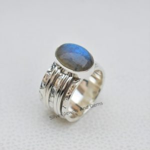 Shop Labradorite Rings! Labradorite Ring , Spinner Ring, Meditation Ring, Fidget Ring, 925 Sterling Silver Ring, Thumb Ring, Anxiety Ring, Hammered Band Ring | Natural genuine Labradorite rings, simple unique handcrafted gemstone rings. #rings #jewelry #shopping #gift #handmade #fashion #style #affiliate #ad