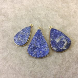 """Shop Lapis Lazuli Chip & Nugget Beads! Jeweler's Lot Gold Plated Three Natural Rough/Raw Lapis Lazuli Teardrop Shaped Bezel Pendants """"RLL14"""" ~ 30-35mm Long – Semi-Precious Gem 