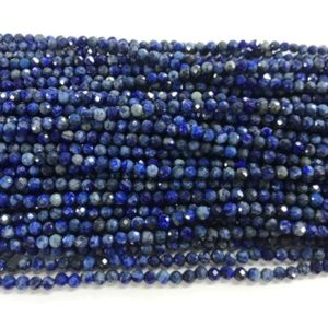 Shop Lapis Lazuli Faceted Beads! Special Offer Genuine Faceted Lapis Lazuli 4mm Round Cut Grade B Natural Gemstone Beads 15 inch | Natural genuine faceted Lapis Lazuli beads for beading and jewelry making.  #jewelry #beads #beadedjewelry #diyjewelry #jewelrymaking #beadstore #beading #affiliate #ad