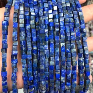 Lapis Lazuli Cube Beads, Natural Gemstone Beads, Loose Stone Beads 4mm 15''   Natural genuine other-shape Gemstone beads for beading and jewelry making.  #jewelry #beads #beadedjewelry #diyjewelry #jewelrymaking #beadstore #beading #affiliate #ad