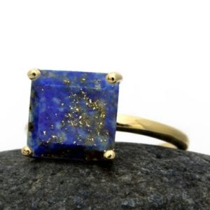 Shop Lapis Lazuli Jewelry! 14k gold filled ring,Lapis ring,September birthstone ring,Lapis lazuli jewelry,square ring,gold stack ring,gemstone ring | Natural genuine Lapis Lazuli jewelry. Buy crystal jewelry, handmade handcrafted artisan jewelry for women.  Unique handmade gift ideas. #jewelry #beadedjewelry #beadedjewelry #gift #shopping #handmadejewelry #fashion #style #product #jewelry #affiliate #ad