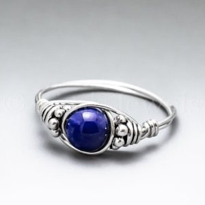 Shop Lapis Lazuli Rings! Lapis Lazuli Bali Sterling Silver Wire Wrapped Gemstone BEAD Ring – Made to Order, Ships Fast! | Natural genuine Lapis Lazuli rings, simple unique handcrafted gemstone rings. #rings #jewelry #shopping #gift #handmade #fashion #style #affiliate #ad