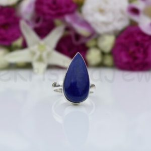 Shop Lapis Lazuli Rings! Lapis Lazuli Gemstone Ring, Sterling Silver Ring, Pear Shape Ring, Statement Ring, Bezel Set Ring, Cabochon Gemstone Ring, Dainty Ring, Boho | Natural genuine Lapis Lazuli rings, simple unique handcrafted gemstone rings. #rings #jewelry #shopping #gift #handmade #fashion #style #affiliate #ad