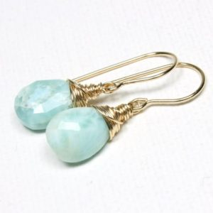 Shop Larimar Earrings! Genuine Larimar Earrings Gold Filled or Sterling Silver wire wrapped natural blue gemstone dainty dangle drops March April birthstone 6107   Natural genuine Larimar earrings. Buy crystal jewelry, handmade handcrafted artisan jewelry for women.  Unique handmade gift ideas. #jewelry #beadedearrings #beadedjewelry #gift #shopping #handmadejewelry #fashion #style #product #earrings #affiliate #ad