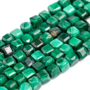 """Shop Malachite Faceted Beads! 2x2MM Malachite Beads Beveled Edge Faceted Cube Grade A Genuine Natural Gemstone Full Strand Loose Beads 15.5"""" Bulk Lot Options (117028-303) 
