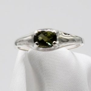 Moldavite Ring, 6x4mm Checkerboard Cushion Cut Genuine Gemstone w/inclusions, Set in 925 Sterling Silver Mounting | Natural genuine Gemstone rings, simple unique handcrafted gemstone rings. #rings #jewelry #shopping #gift #handmade #fashion #style #affiliate #ad