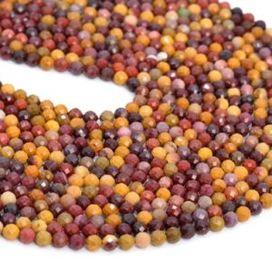"""Shop Mookaite Jasper Faceted Beads! 4MM Mookaite Beads Grade AA Genuine Natural Gemstone Half Strand Faceted Round Loose Beads 7.5"""" Bulk Lot Options (107639h-2495) 