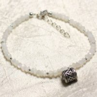 Bracelet 925 Sterling Silver And Stone – Moonstone White Rondelle Faceted 3mm | Natural genuine Gemstone jewelry. Buy crystal jewelry, handmade handcrafted artisan jewelry for women.  Unique handmade gift ideas. #jewelry #beadedjewelry #beadedjewelry #gift #shopping #handmadejewelry #fashion #style #product #jewelry #affiliate #ad