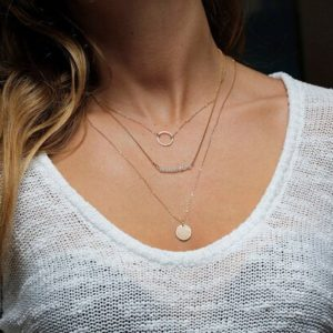 Shop Moonstone Necklaces! Layered Necklace Set of Personalized Initial Disc, Moonstone Bar and Karma Circle Charm Necklace | Natural genuine Moonstone necklaces. Buy crystal jewelry, handmade handcrafted artisan jewelry for women.  Unique handmade gift ideas. #jewelry #beadednecklaces #beadedjewelry #gift #shopping #handmadejewelry #fashion #style #product #necklaces #affiliate #ad