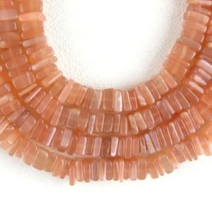 """Good Quality 16"""" Long Natural Peach Moonstone Heishi Beads,Smooth Square Beads,Moonstone Jewelry Beads,4-5.5MM Gemstone Bead,Wholesale Price   Natural genuine other-shape Gemstone beads for beading and jewelry making.  #jewelry #beads #beadedjewelry #diyjewelry #jewelrymaking #beadstore #beading #affiliate #ad"""