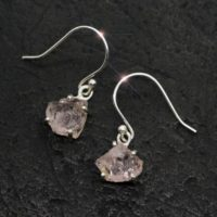 Just Peachy – Morganite Rough Sterling Silver Earrings | Natural genuine Gemstone jewelry. Buy crystal jewelry, handmade handcrafted artisan jewelry for women.  Unique handmade gift ideas. #jewelry #beadedjewelry #beadedjewelry #gift #shopping #handmadejewelry #fashion #style #product #jewelry #affiliate #ad