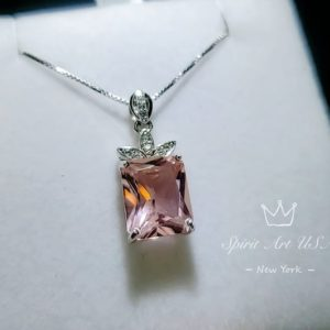 Shop Morganite Pendants! Morganite Necklace – Large Rectangular Pink Morganite Pendant – Royal Flower – Sterling Silver – 5 Ct Rose Color Morganite Jewelry | Natural genuine Morganite pendants. Buy crystal jewelry, handmade handcrafted artisan jewelry for women.  Unique handmade gift ideas. #jewelry #beadedpendants #beadedjewelry #gift #shopping #handmadejewelry #fashion #style #product #pendants #affiliate #ad