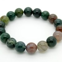 """Moss Agate Smooth Round Gemstone Beads. Length 7"""" ~ 8"""" Semi-precious Gemstone Elastic Cord Bracelet Accessories 