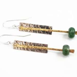 Shop Moss Agate Earrings! Green Moss Agate Dangle Earrings – Mixed Metal Jewelry – Sterling And Brass Earrings – Minimalist Jewelry | Natural genuine Moss Agate earrings. Buy crystal jewelry, handmade handcrafted artisan jewelry for women.  Unique handmade gift ideas. #jewelry #beadedearrings #beadedjewelry #gift #shopping #handmadejewelry #fashion #style #product #earrings #affiliate #ad