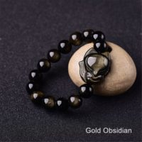 Gold Obsidian Healing Crystal Bracelet, natural Rainbow Eye Obsidian Carved Fox Bracelet For Men Women, spiritual Balance Protection Bracelet | Natural genuine Gemstone jewelry. Buy handcrafted artisan men's jewelry, gifts for men.  Unique handmade mens fashion accessories. #jewelry #beadedjewelry #beadedjewelry #shopping #gift #handmadejewelry #jewelry #affiliate #ad