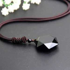 Black Hexagonal Obsidian Necklace-Spiritual Grounding Energy Protection Necklace-Obsidian Pendant-Black Obsidian Stone Necklace Pendant | Natural genuine Obsidian jewelry. Buy crystal jewelry, handmade handcrafted artisan jewelry for women.  Unique handmade gift ideas. #jewelry #beadedjewelry #beadedjewelry #gift #shopping #handmadejewelry #fashion #style #product #jewelry #affiliate #ad