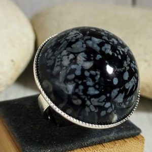 Shop Obsidian Rings! Big Obsidian Ring,  Chunky Black And White Statement Ring, Big Black Cocktail Ring, | Natural genuine Obsidian rings, simple unique handcrafted gemstone rings. #rings #jewelry #shopping #gift #handmade #fashion #style #affiliate #ad