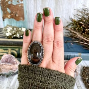 Shop Obsidian Rings! Size 7 Mahogany Sheen Obsidian Statement Ring Set in Sterling Silver  / Curated by FOXLARK Collection | Natural genuine Obsidian rings, simple unique handcrafted gemstone rings. #rings #jewelry #shopping #gift #handmade #fashion #style #affiliate #ad