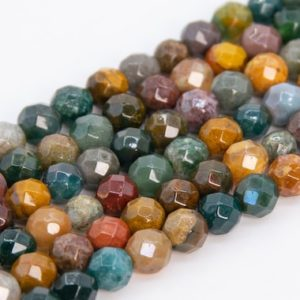 """Shop Ocean Jasper Faceted Beads! 4MM Multicolor Ocean Jasper Beads Grade AAA Genuine Natural Gemstone Faceted Round Loose Beads 14.5"""" / 7.5"""" Bulk Lot Options (109952) 
