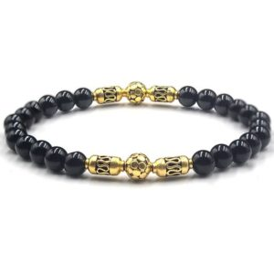 Shop Onyx Bracelets! Polished Black Onyx Bracelet, Bead Bracelet Men, Bracelet for Men, Men's Black Bracelet, Men's Bracelet, Onyx and Gold Beads Bracelet | Natural genuine Onyx bracelets. Buy handcrafted artisan men's jewelry, gifts for men.  Unique handmade mens fashion accessories. #jewelry #beadedbracelets #beadedjewelry #shopping #gift #handmadejewelry #bracelets #affiliate #ad