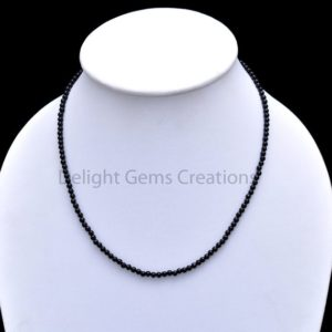 Shop Onyx Necklaces! Black Onyx Necklace, Natural Black Onyx Beaded Necklace, 3.5mm Onyx Smooth Round Beads, Black Beads Necklace, Semi Precious 18 Inch Necklace | Natural genuine Onyx necklaces. Buy crystal jewelry, handmade handcrafted artisan jewelry for women.  Unique handmade gift ideas. #jewelry #beadednecklaces #beadedjewelry #gift #shopping #handmadejewelry #fashion #style #product #necklaces #affiliate #ad