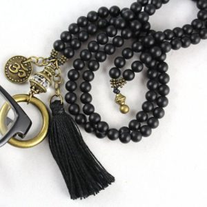 Shop Onyx Necklaces! Gemstone Eyeglass Holder, Eyeglass Necklace, Eyeglass Loop, Eyeglass Lanyard, Eyeglass Chain, Glasses Chain, Black Onyx Mala, Tassel Mala | Natural genuine Onyx necklaces. Buy crystal jewelry, handmade handcrafted artisan jewelry for women.  Unique handmade gift ideas. #jewelry #beadednecklaces #beadedjewelry #gift #shopping #handmadejewelry #fashion #style #product #necklaces #affiliate #ad